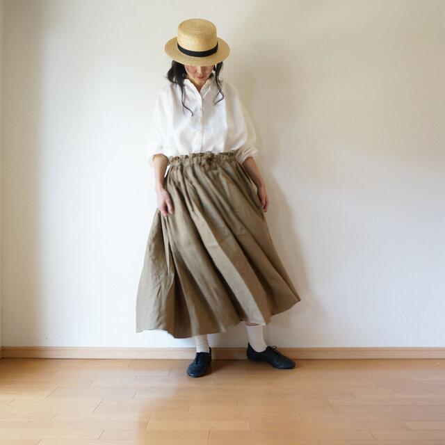 Linen waist gather skirt KHAKIの画像1枚目
