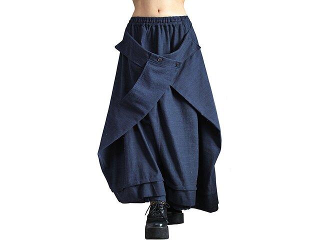 ジョムトン手織り綿の袋状スカート インディゴ紺(SFS-019-03)の画像1枚目
