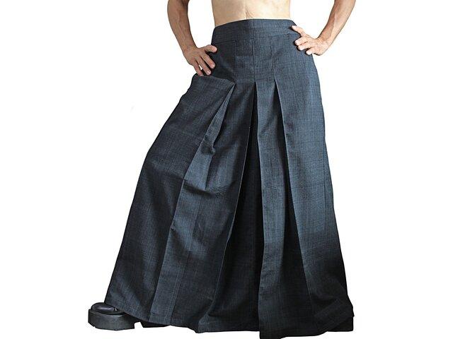 ジョムトン手織り綿袴スカート 墨黒 (SFS-018-01)の画像1枚目