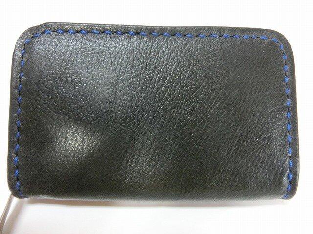 ミニラウンドファスナー財布(ブラック ステッチはブルー)の画像1枚目