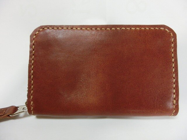 ミニラウンドファスナー財布(ブラウン ステッチはベージュ)の画像1枚目