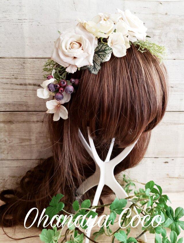 Wedding~薔薇とベリーのヘッドドレス7点Set No475の画像1枚目