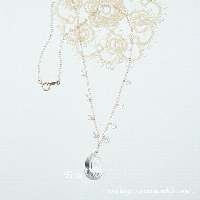 *勿忘草*宝石質コンケーブカットのクリスタルのネックレスの画像1枚目