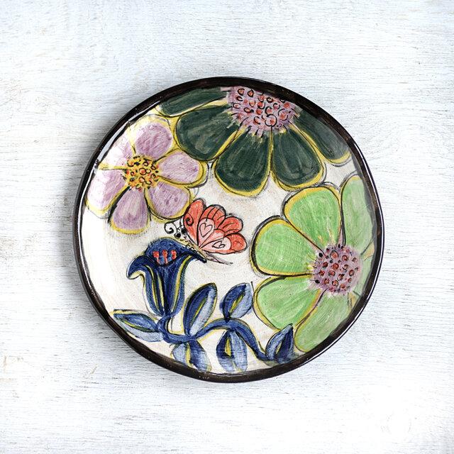 アウトレット絵皿・花と蝶(緑の花)の画像1枚目
