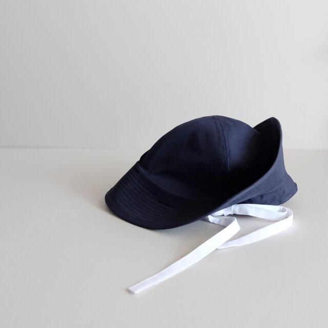 テントな帽子 - 上質コットン・ダークネイビーにホワイトリボン -  <受注制作>の画像1枚目