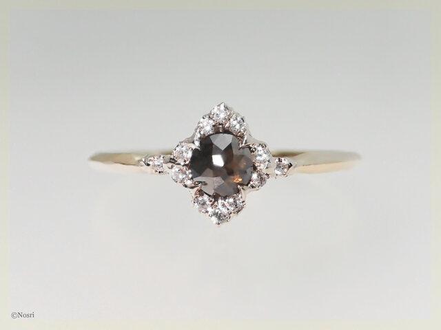 ローズカットダイヤモンド リング コーヒーブラウン(Ice field M Solo Ring)の画像1枚目