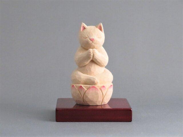 木彫り 合掌猫 猫仏1911の画像1枚目