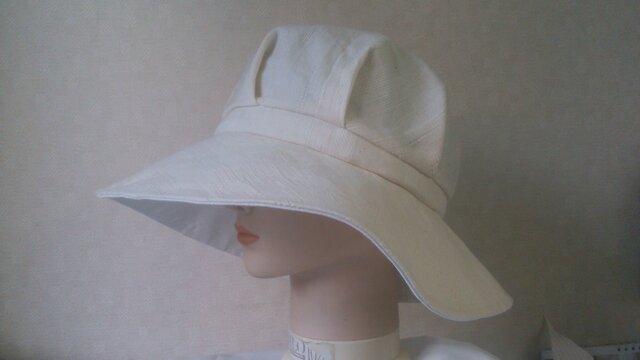 魅せる帽子☆織柄コットンとオーガンジーのリバーシブルキャプリーヌの画像1枚目