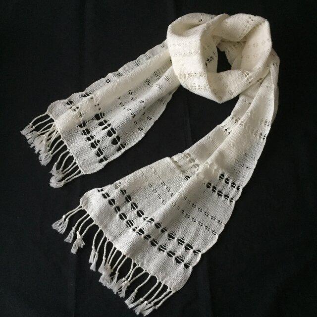 エジプト綿オフホワイトの手織りストールの画像1枚目