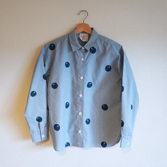 ギンガムチェックシャツ・水色・ドット椿の画像1枚目