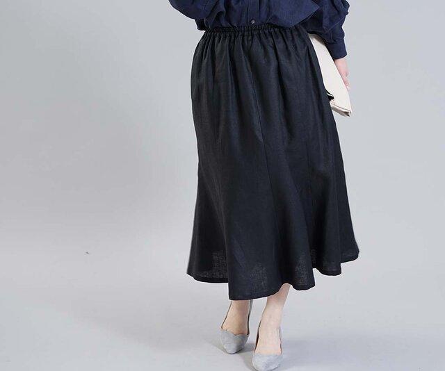 【wafu】薄地 リネン スカート 8枚はぎチューリップ 裾広がり フレアー 膝下丈 / ブラック【M-L】s021a-bck1の画像1枚目
