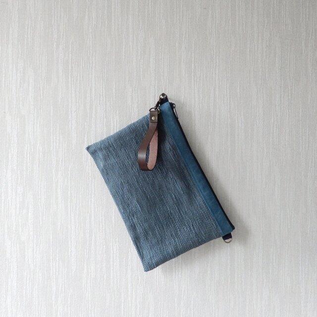 裂き織りのクラッチバッグの画像1枚目
