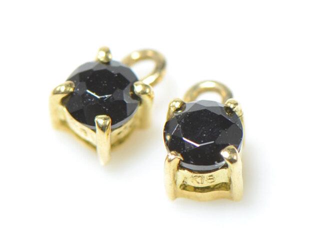 K18 ブラックダイヤモンド  ピアス チャーム K18イエローゴールド YK-AN083の画像1枚目