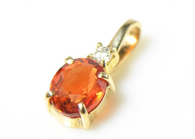 K18 オレンジ サファイア ダイヤモンド ペンダント トップ K18イエローゴールド YK-AQ082の画像1枚目