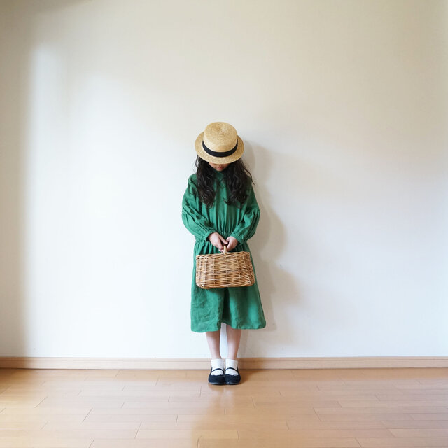 Linen waist gather one piece GREEN kids 3(120cm~),4(140cm~)sizeの画像1枚目