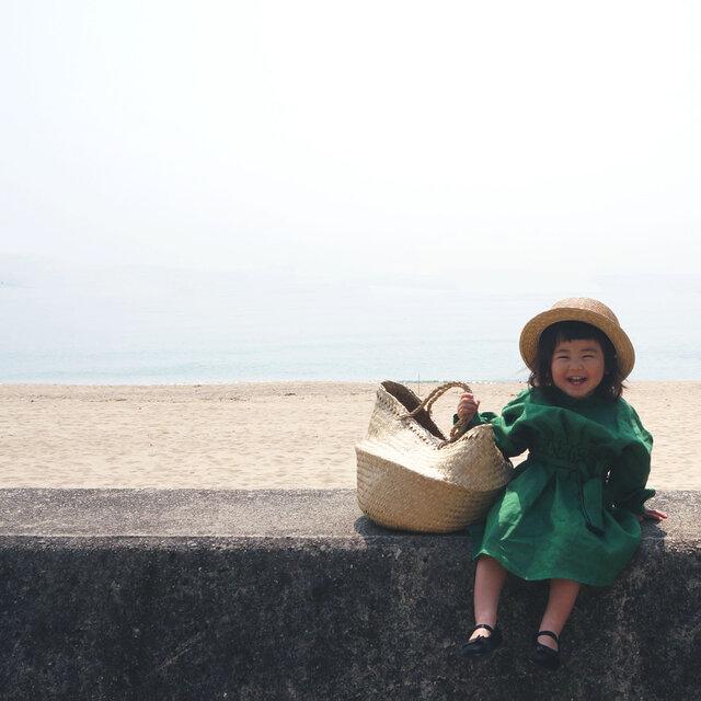 Linen waist gather one piece GREEN kids 1(80cm~),2(100cm~)sizeの画像1枚目