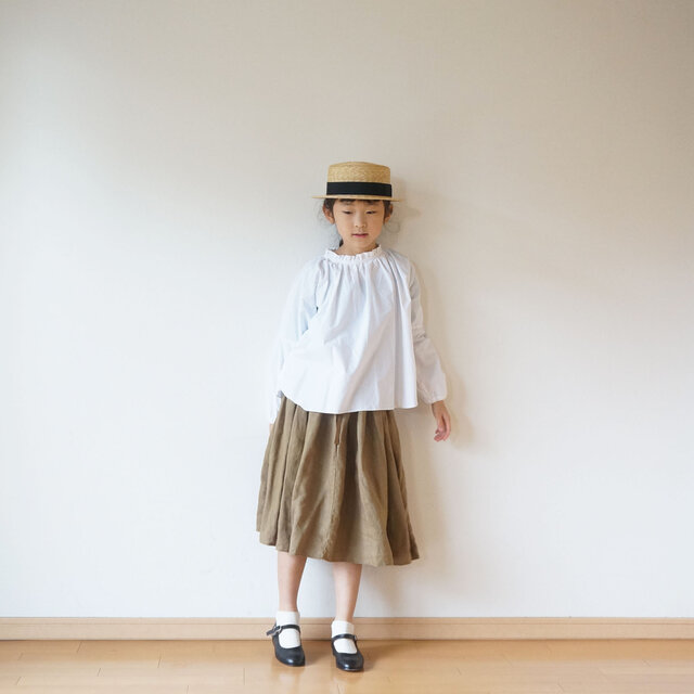 Linen waist gather skirt 1(80cm~),2(100cm~)sizeの画像1枚目