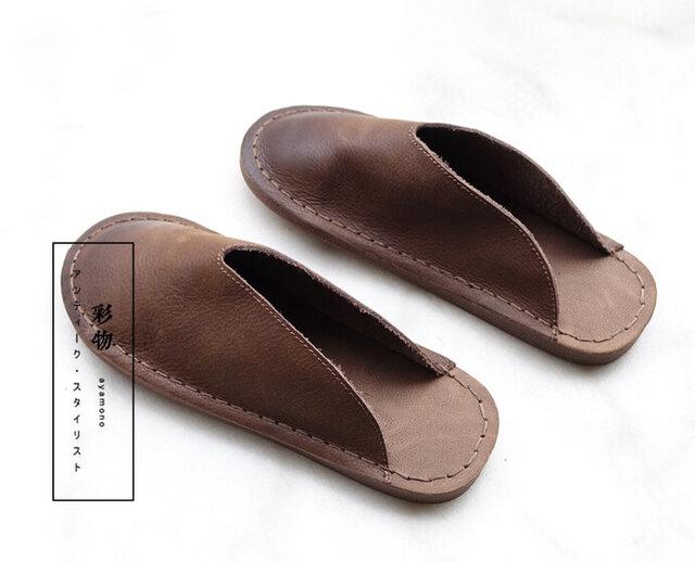 【受注製作】すぽっとはまる ぺたぺたの牛革縫製サンダル 茶褐色 SHSC-1の画像1枚目