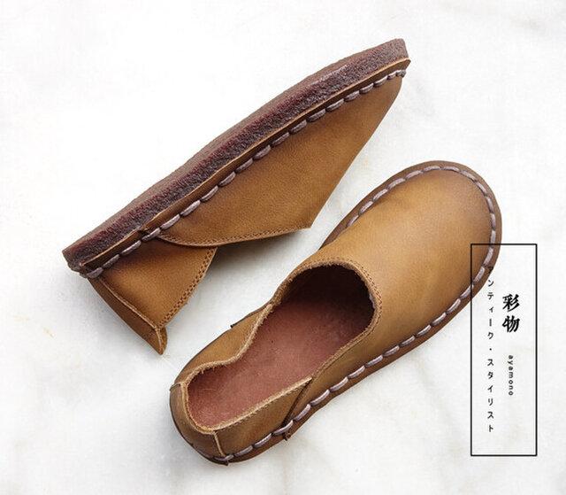 【受注製作】丸トウ 牛革レザーパンプス 靴 手製裁縫 黄土色 SJE34の画像1枚目