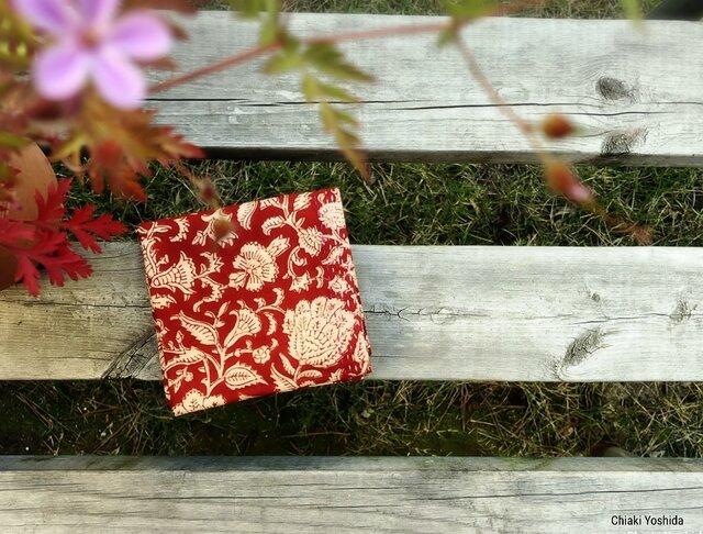 <2019年新柄>インド綿バンダナ(ブロックプリント)<赤・花柄>の画像1枚目