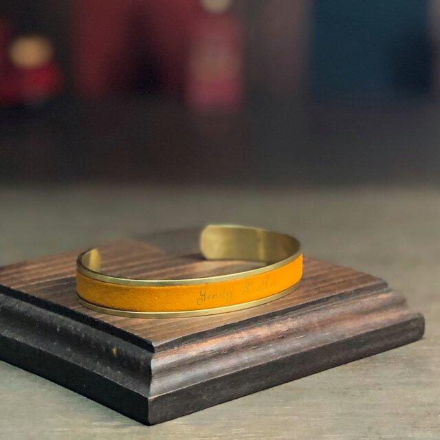 レザー真鍮バングル 黄 (太)  [ネーム 名入れ刻印 無料]の画像1枚目