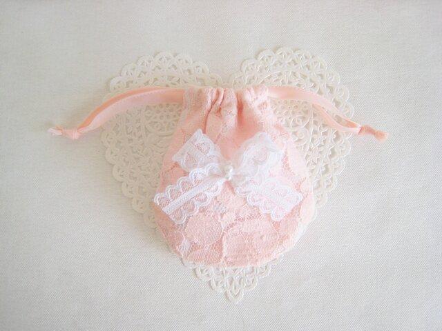 可愛いリボンを付けたエレガントミニ巾着袋(ピンクレース)の画像1枚目