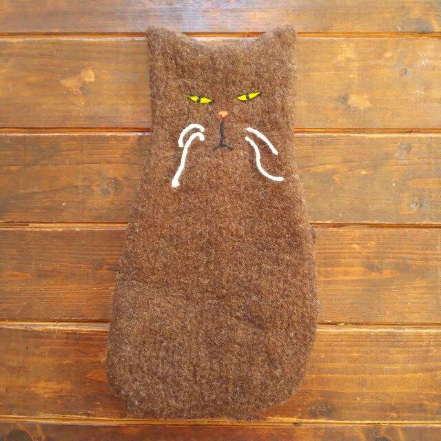 猫ポーチ(焦げ茶)の画像1枚目