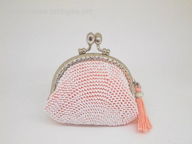ビーズ編みのがま口-桃色×パールホワイトの画像1枚目