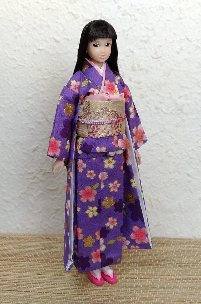 27cmドール着物 小紫の画像1枚目