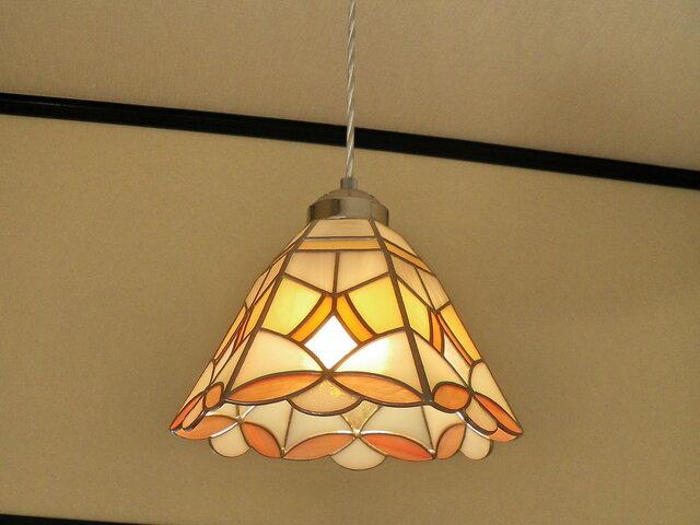 特大ペンダントライト・サーモンピンク・オレンジ(ステンドグラス)吊り下げ照明・ガラス  LLサイズ・(コード長さ調節可)27の画像1枚目