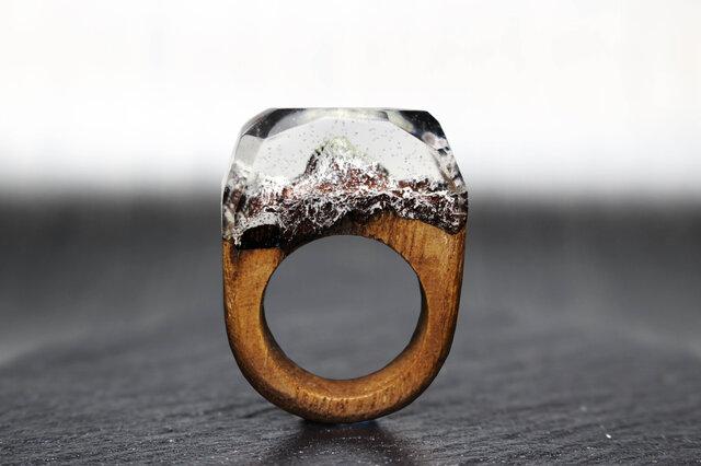 【送料無料】Everest ~Resin Wood Ring~の画像1枚目