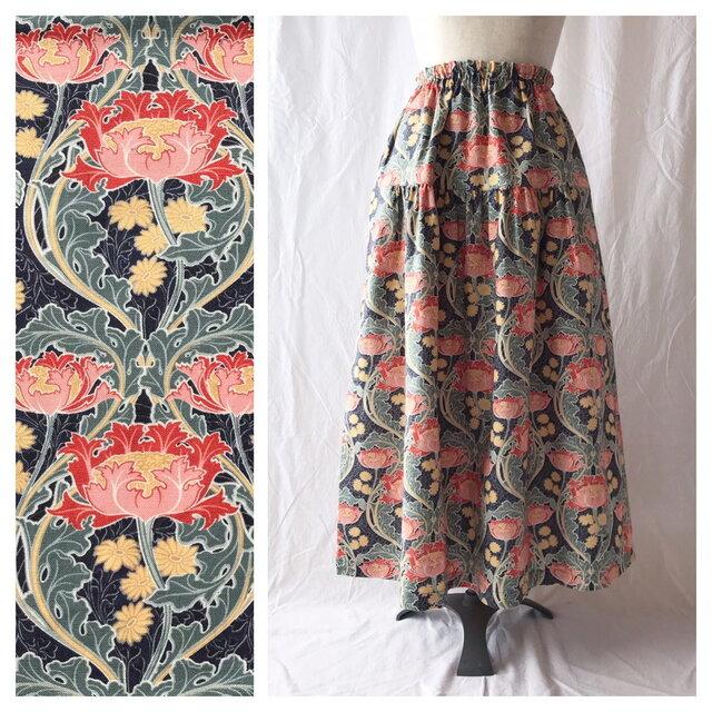 【ちょっと短め80cm】しっかり生地の華やかティアードスカート(ジャポネ:チャコールの画像1枚目