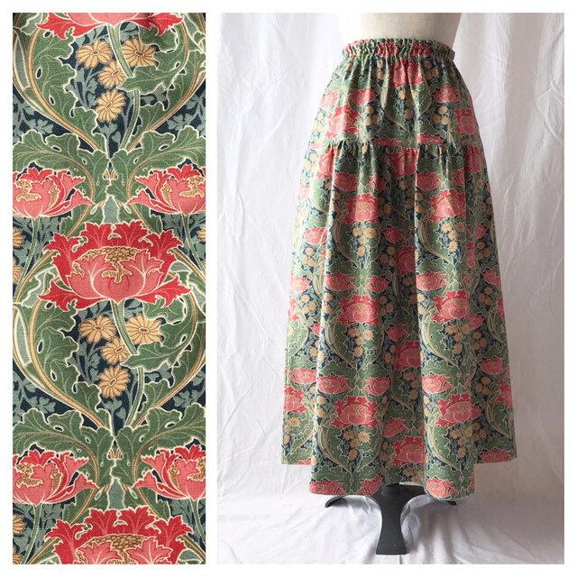 【ちょっと短め80cm】しっかり生地の華やかティアードスカート(ジャポネ:ネイビーの画像1枚目
