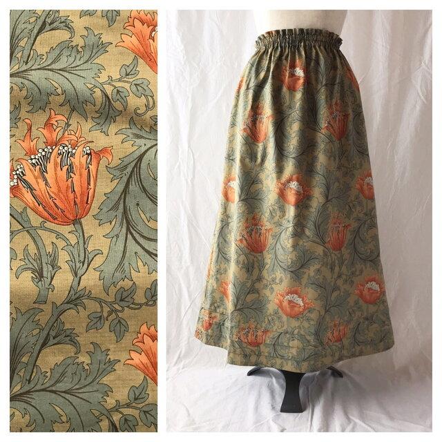 レディのためのシンプルAラインスカート(ウイリアムモリスのアネモネ:オレンジ)の画像1枚目