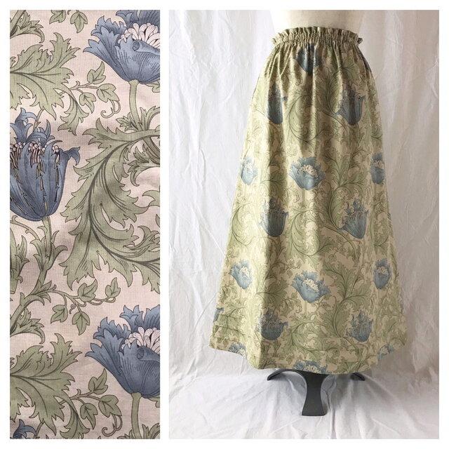 レディのためのシンプルAラインスカート(ウイリアムモリスのアネモネ:タートルダブ)の画像1枚目