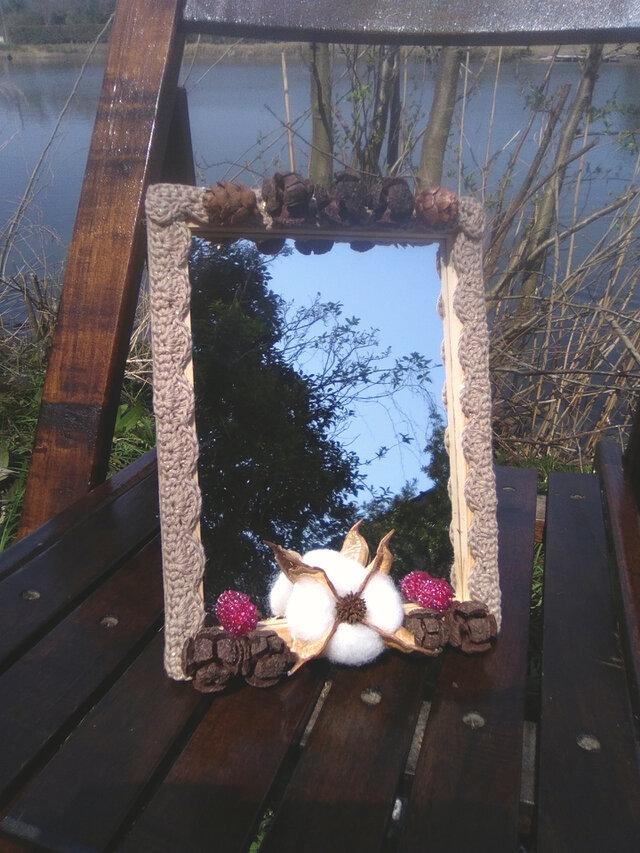 自然素材のロマンティックな卓上スタンドミラー 大 (5)の画像1枚目