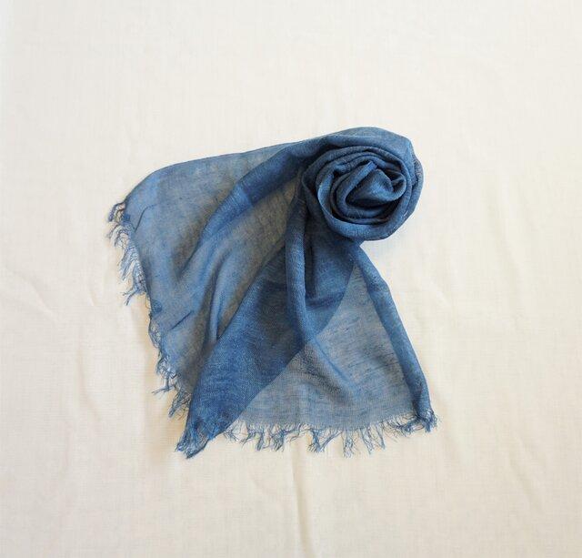 【受注制作】藍染 シルクネップストール 浅葱の画像1枚目
