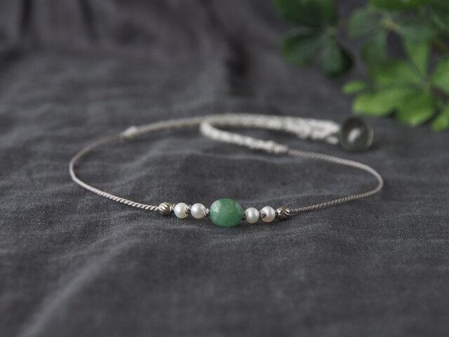 Fresh Green Short Necklace(エメラルド×淡水パール)の画像1枚目