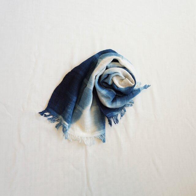 【受注制作】藍染 タオルマフラー グラデーションの画像1枚目