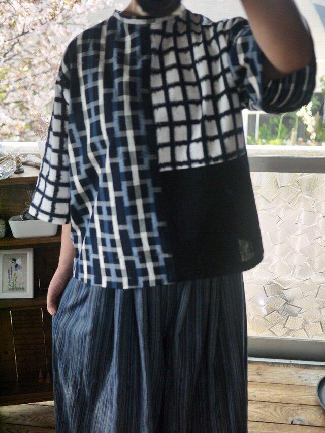久留米絣と古布からスタンドカラーのトップスの画像1枚目