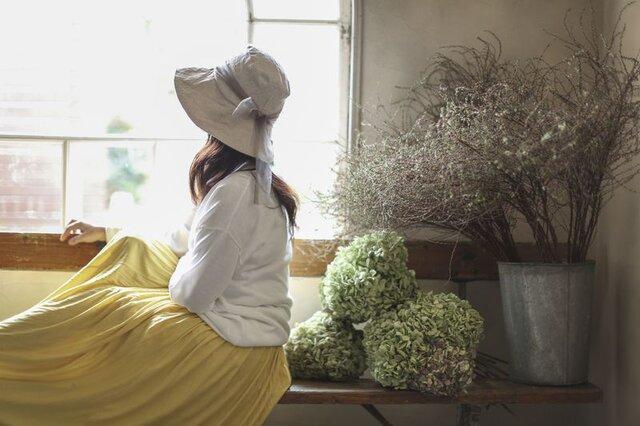 【受注製作】ナチュラルベーシック リネンとチュールの帽子    60〜65cm  サイズ調整可能の画像1枚目