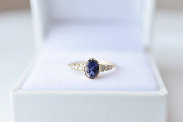 [18K]月華 アイオライトとダイヤモンドのリングの画像1枚目