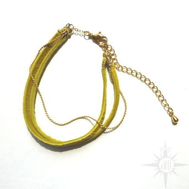 leather bracelet -yelow/brown-の画像1枚目
