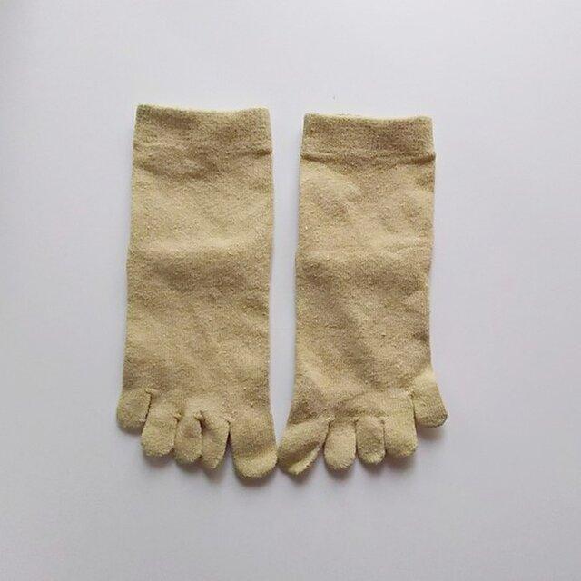 ヨモギ染め 五本指くつ下 シルクの画像1枚目