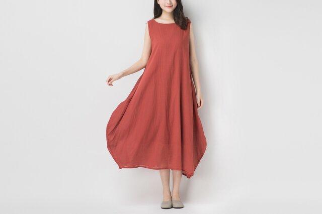 綿麻生地 大人女性のシンプル華やかノースリーブワンピース☆Red☆の画像1枚目