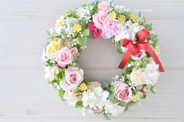 再販3 バラとカーネーションのリース:母の日ギフト ピンク カーネーション バラの画像1枚目