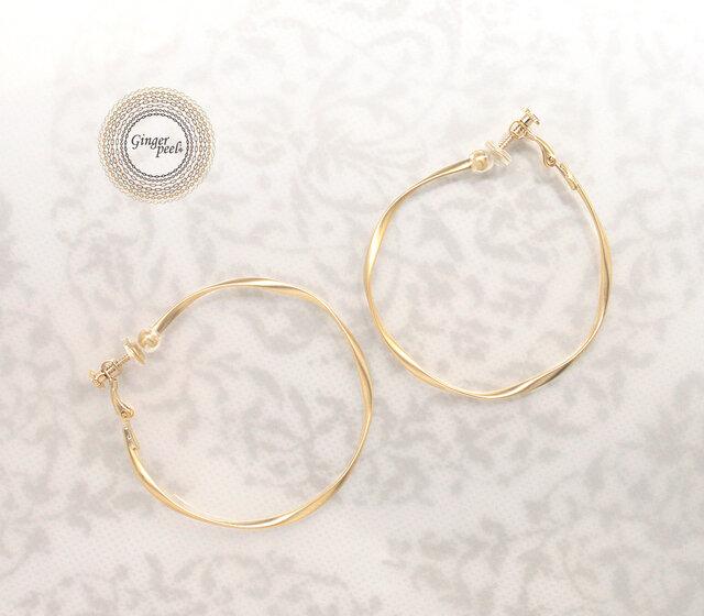 イヤリング[Queen size hoop/Gold]の画像1枚目