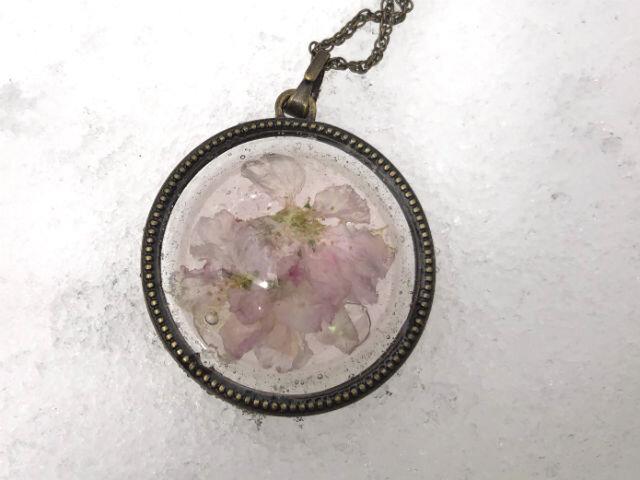 Botanical jewelry 桜 ペンダント Lの画像1枚目