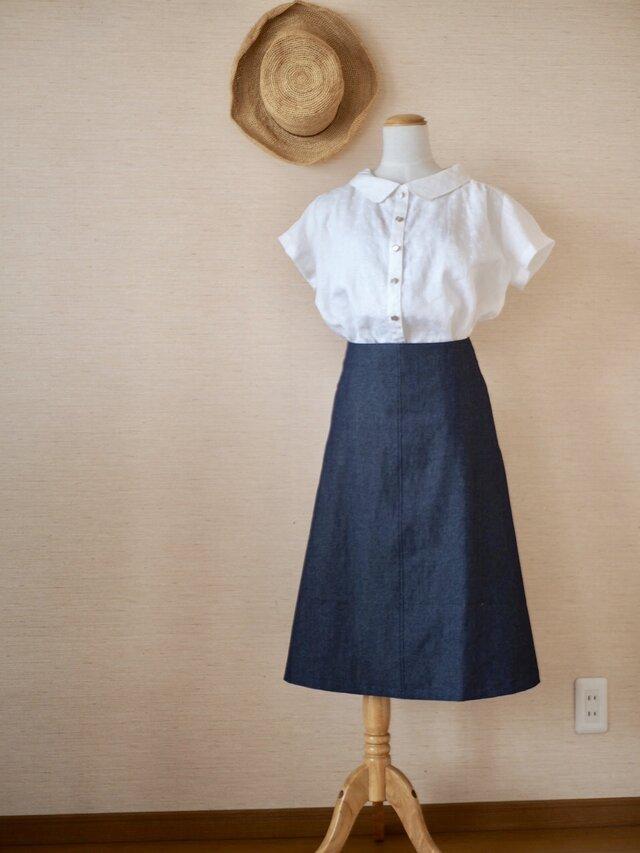 デニムAラインスカートの画像1枚目
