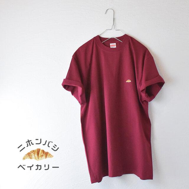 【ワイン】カラーTシャツ;クロワッサン刺繍付きの画像1枚目